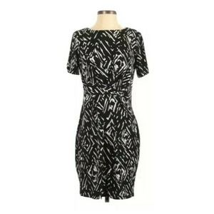 Roz & Ali 2x geometric Dress faux knot waist